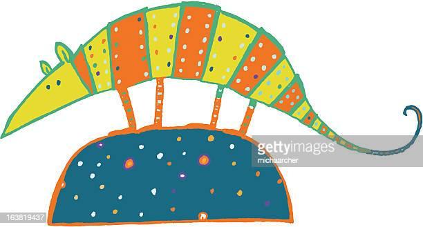 colorful armadillo - armadillo stock illustrations