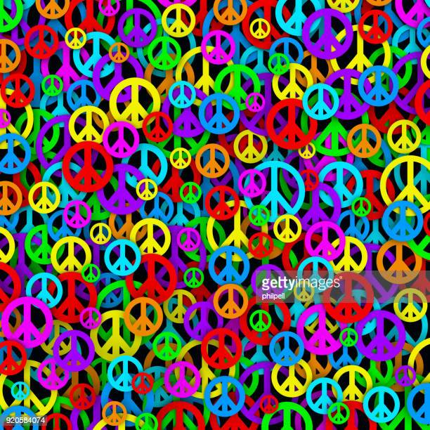 colorful background made of peace and love symbols - symbols of peace stock illustrations