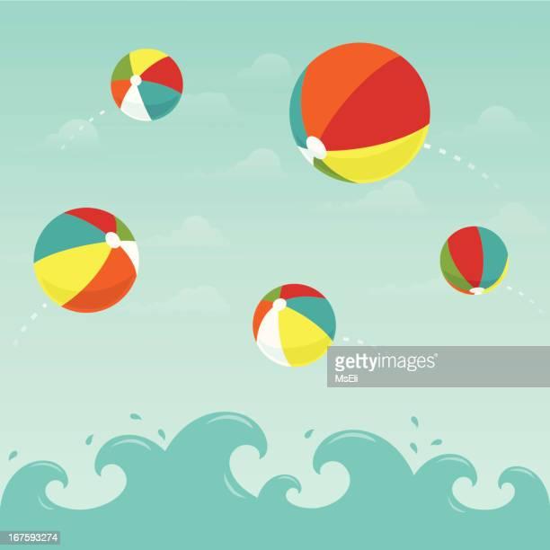 ilustraciones, imágenes clip art, dibujos animados e iconos de stock de playa coloridas bolas en el agua - pelota de playa
