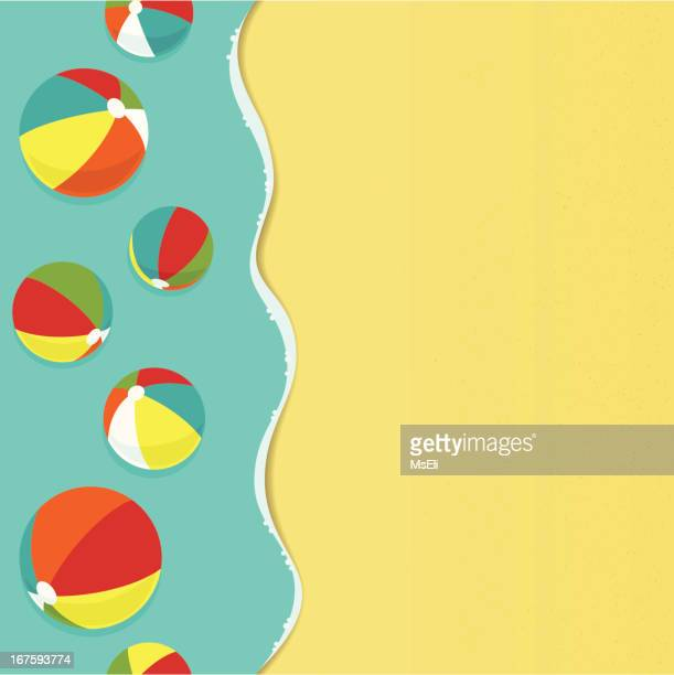 ilustraciones, imágenes clip art, dibujos animados e iconos de stock de colorido beachballs en la playa - pelota de playa