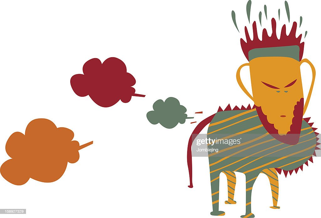 A colorful creature leaving a trail of dust : stock illustration