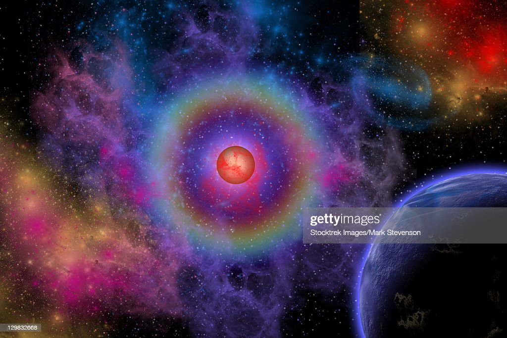 Colorful emissions are released from a distant star. : stock illustration