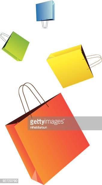 illustrations, cliparts, dessins animés et icônes de sacs en papier coloré vide - sac