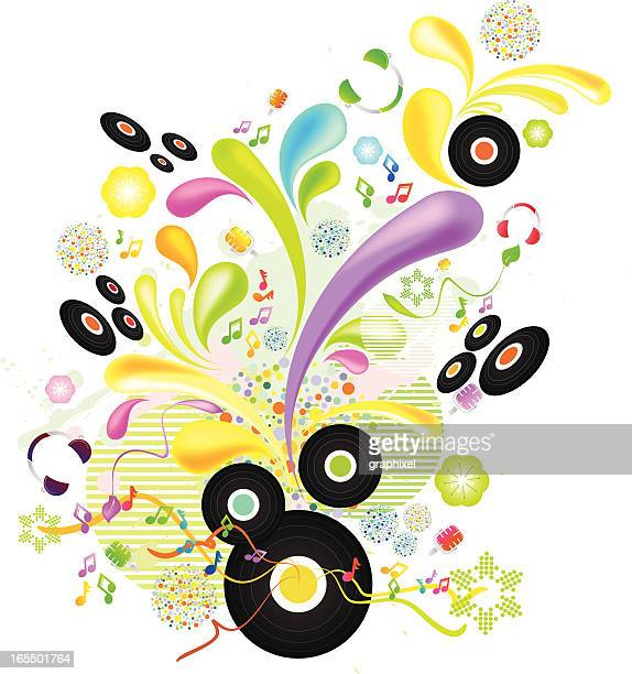 colorful floral music background - drop the mic stock illustrations