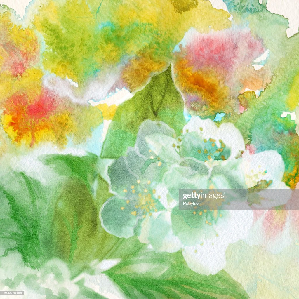 Colorful Floral Watercolor Background High Res Vector Graphic