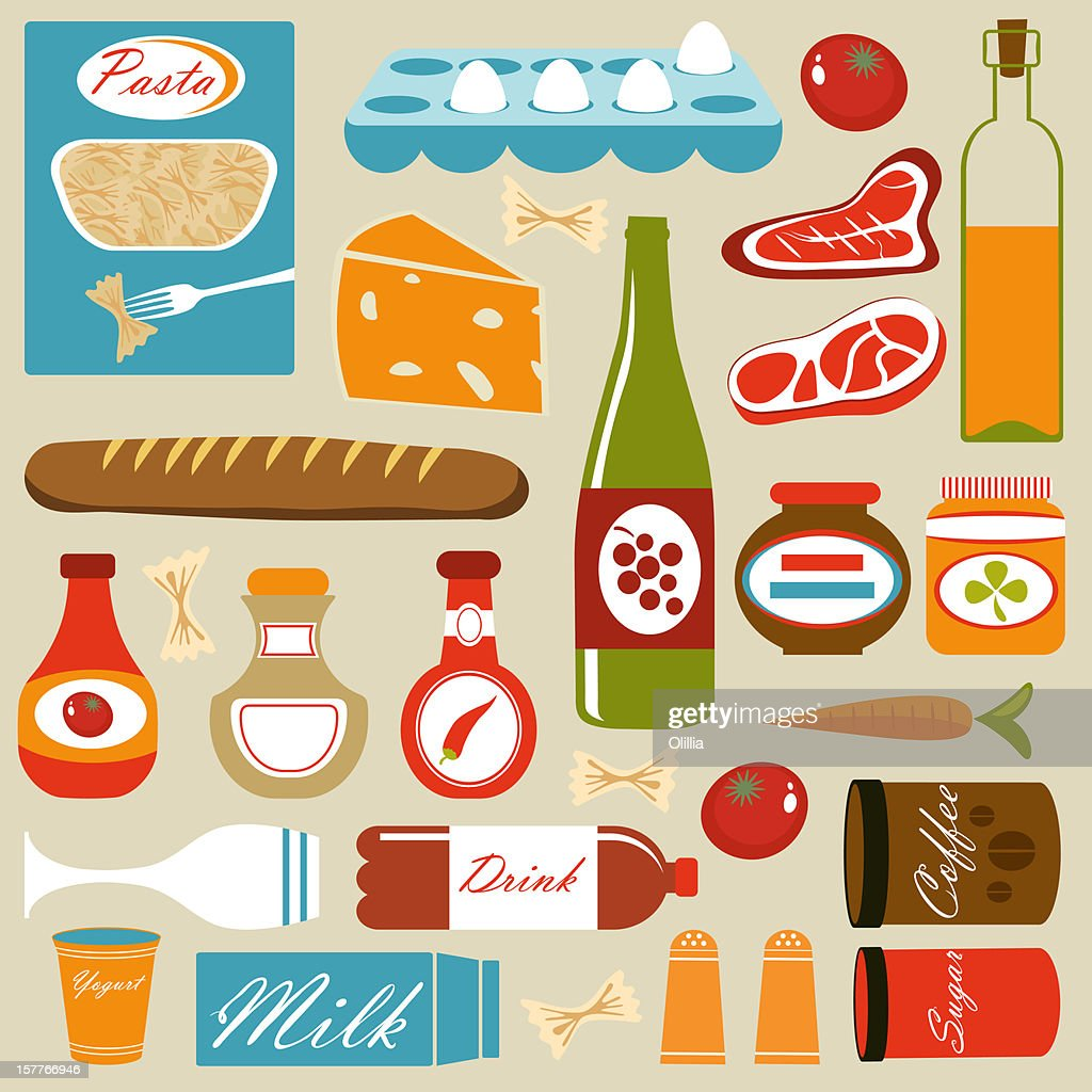 Colorful food icons composition : Stock Illustration