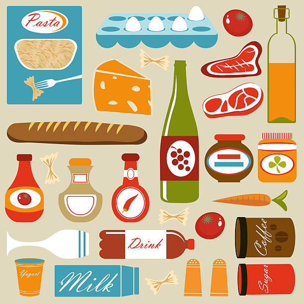 Colorful Food Icons Composition Wall Art