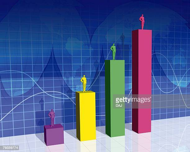 Colorful Graph Charts, CG, 3D, Illustration