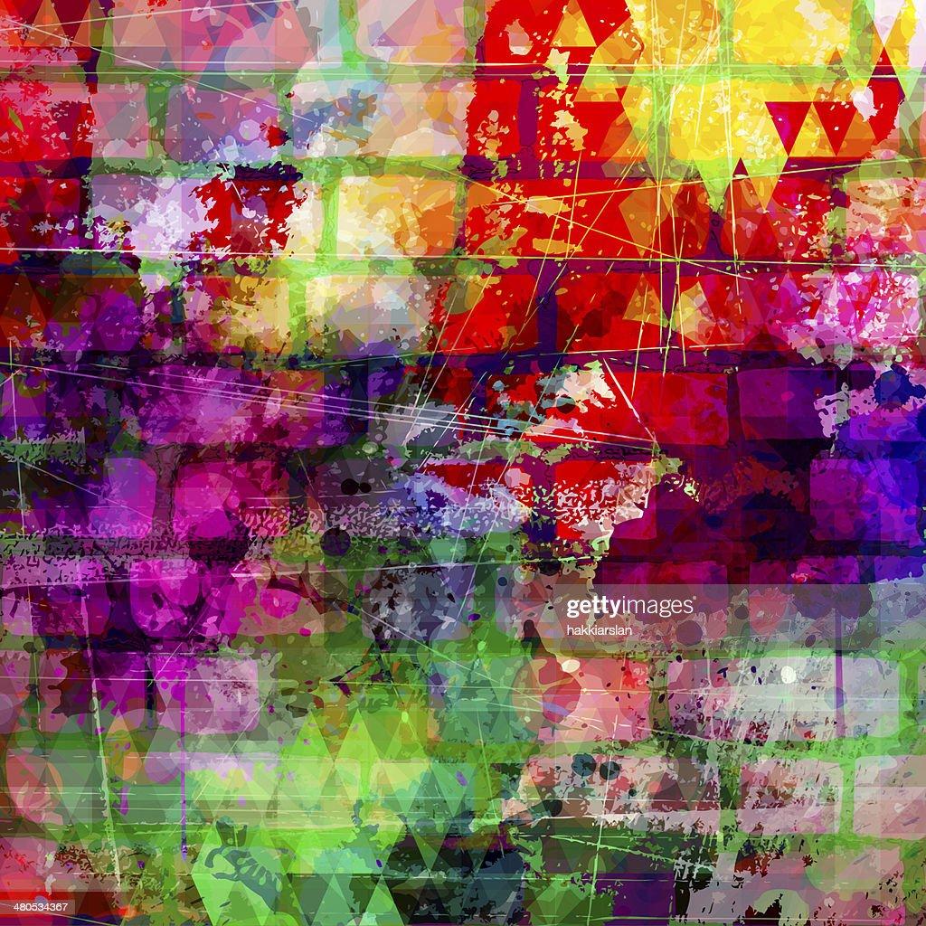 Bunte grunge-Wand mit Kunstwerken illustration : Stock-Illustration