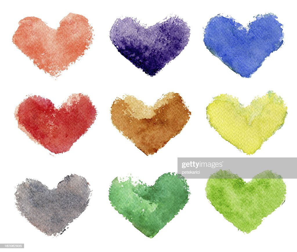 Colorful Hearts Watercolor on Paper (Clipping Path) : Stock Illustration