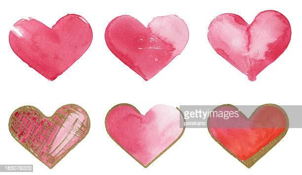 El papel de acuarela colorido corazones