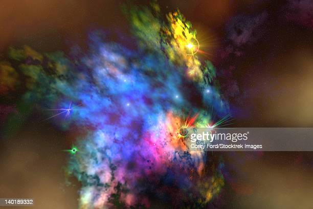 a colorful nebula in the universe. - signal flare stock illustrations, clip art, cartoons, & icons