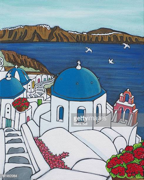 a colorful painting depicting the cliffs of santorini greece - santorini stock illustrations