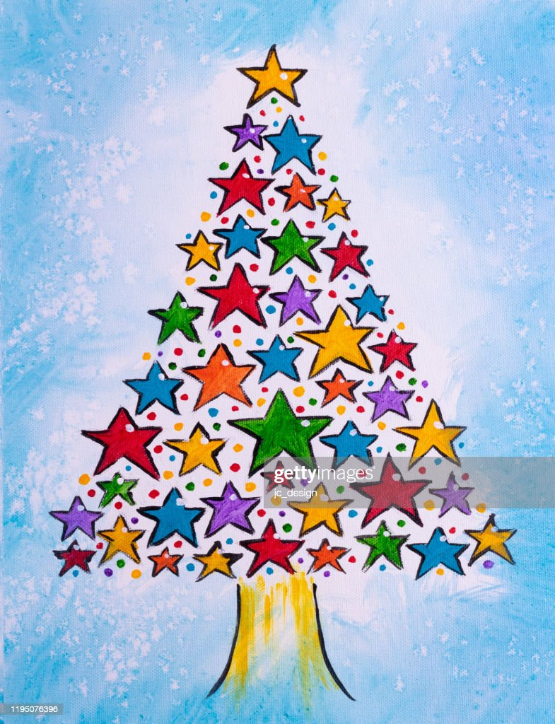 Colorful Painting Of Multicolor Christmas Tree Made Of Stars High Res Vector Graphic Getty Images