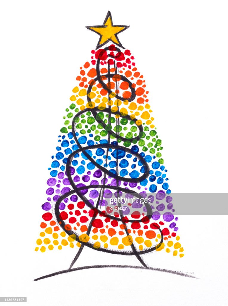 Colorful Painting Of Rainbow Christmas Tree With Star On Top High Res Vector Graphic Getty Images