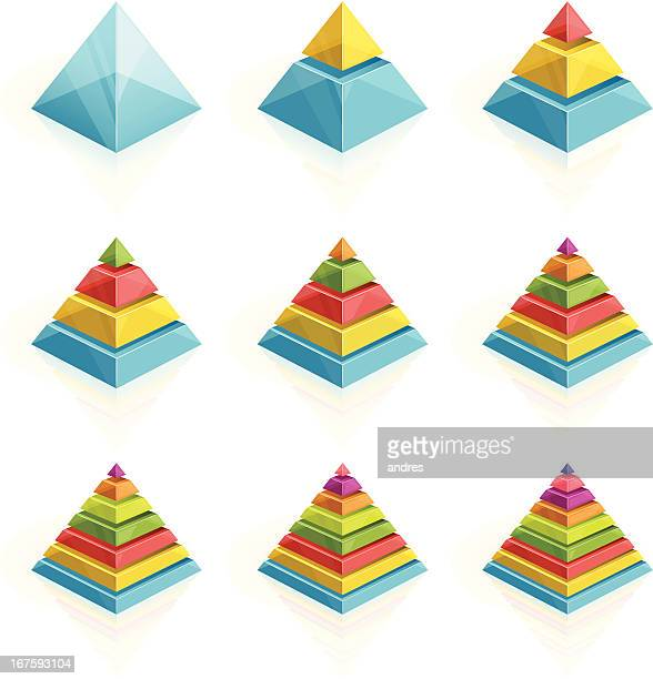 Colorful pyramids divided into two to nine layers