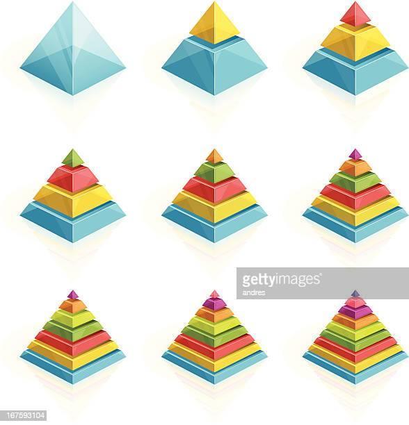 bildbanksillustrationer, clip art samt tecknat material och ikoner med colorful pyramids divided into two to nine layers - pyramidform