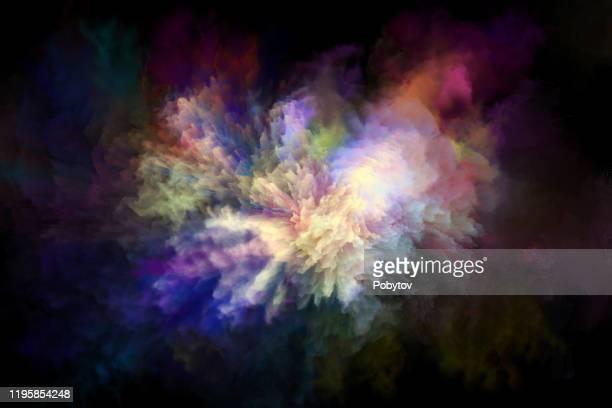 bunte regenbogen holi farbe farbe pulver explosion isoliert schwarz hintergrund - farbpulver stock-grafiken, -clipart, -cartoons und -symbole