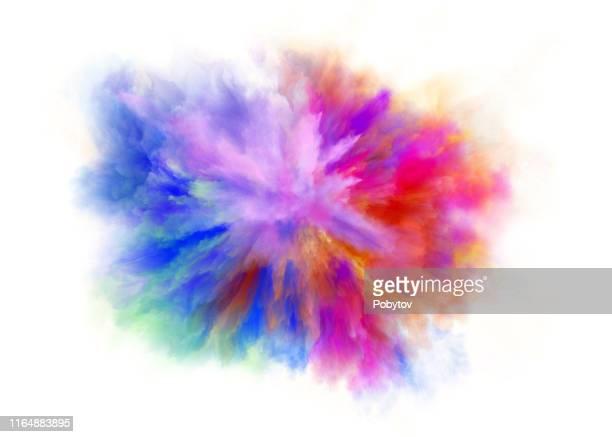 カラフルな虹のホリ塗料カラーパウダー爆発孤立した白い背景 - 伝統的な祭り点のイラスト素材/クリップアート素材/マンガ素材/アイコン素材