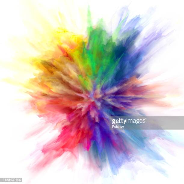 colorful rainbow holi paint color powder explosion isolated white background - exploding stock illustrations