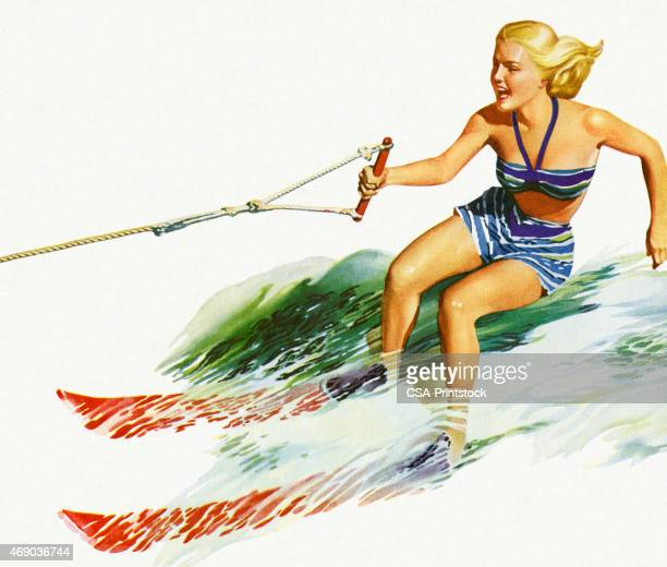 colorful sketch of woman waterskiing - swimwear stock illustrations, clip art, cartoons, & icons