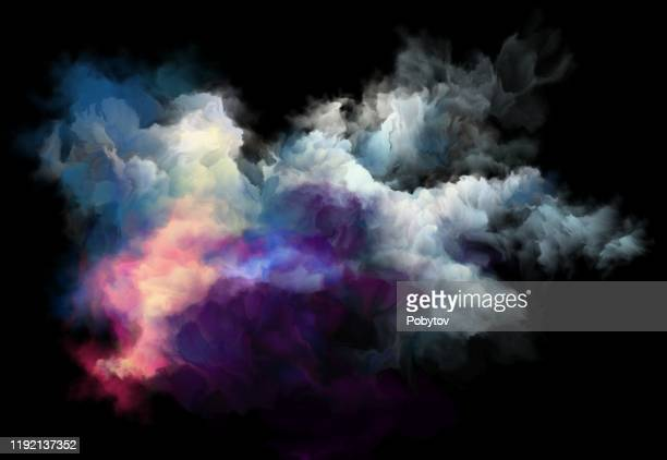 colorful smoke on a black background, art background - smoke physical structure stock illustrations