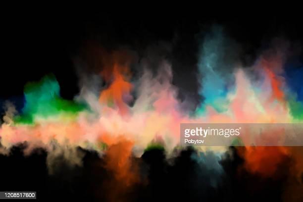 colorful smoke on a black background, art background - powder paint stock illustrations