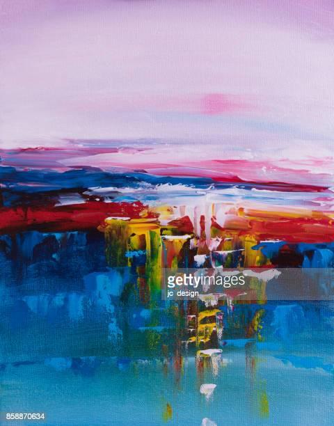 Kleurrijke zonsondergang abstracte schilderkunst