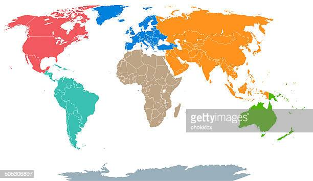 colorful wolrd map in seven continents - antarctica stock illustrations, clip art, cartoons, & icons