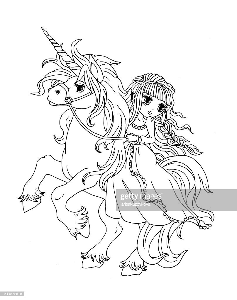 Coloring Page The Princess On The Unicorn Stock ...