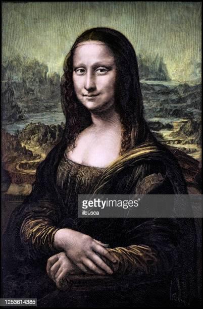 illustrazioni stock, clip art, cartoni animati e icone di tendenza di colorized engraving of leonardo's mona lisa (la gioconda) - immagine dipinta