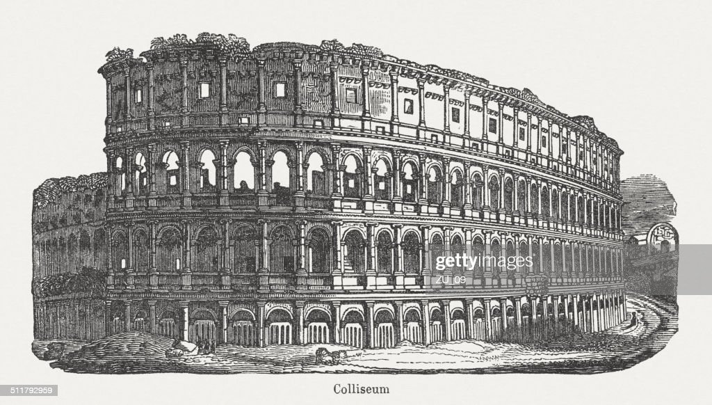 Colosseum in Rome, built 72-80 AD, wood engraving, published 1864 : stock illustration