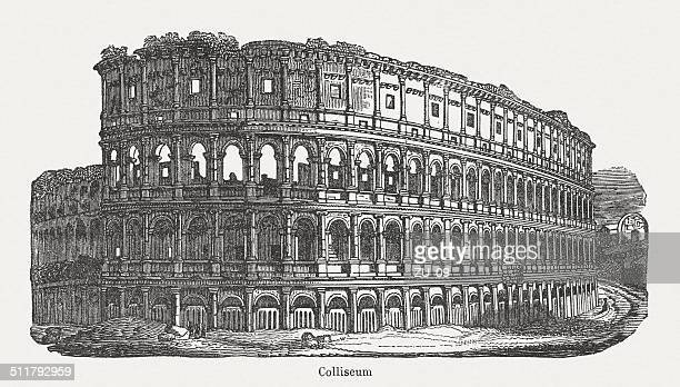 Colosseum in Rome, built 72-80 AD, wood engraving, published 1864
