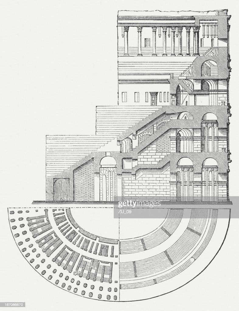Colosseum in Rome, Italy, Cross-section and plan view, published 1876 : stock illustration