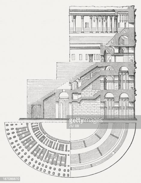 Colosseum in Rome, Italy, Cross-section and plan view, published 1876