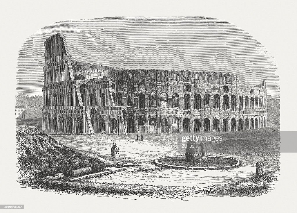 Colosseum in Rome, published in 1878 : stock illustration
