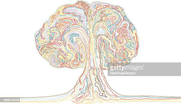 colour explosion or rainbow tree - dividing line road marking stock illustrations, clip art, cartoons, & icons