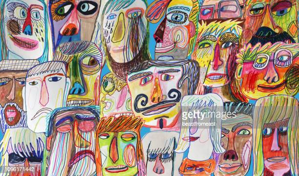 colourful and bright people crowd background pattern - human face stock illustrations