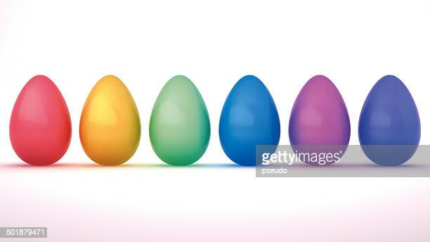 colourful easter eggs, 3d illustration - medium group of objects stock illustrations, clip art, cartoons, & icons