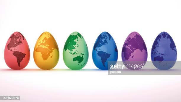 Colourful Easter eggs, painted with different continents, 3D illustration