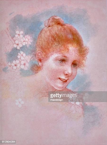 colourful illustration of a young girl surrounded by flowers = 1896 - 1896 stock illustrations, clip art, cartoons, & icons