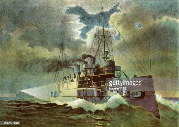 ilustraciones, imágenes clip art, dibujos animados e iconos de stock de uss columbia 1899 - primeraguerramundial