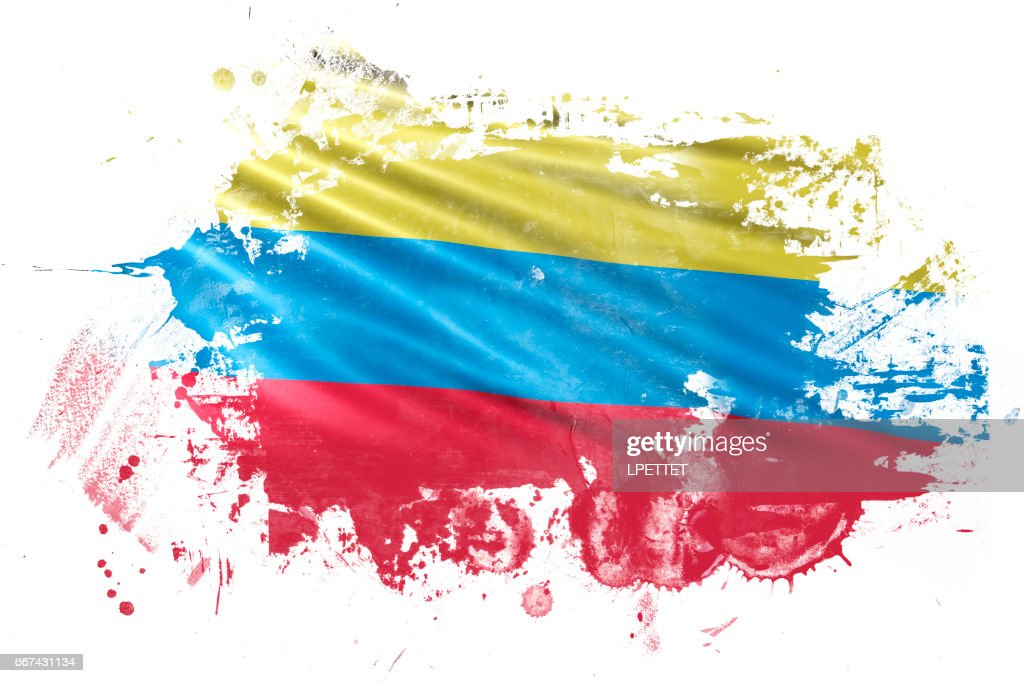 Columbian Ink Grunge Flag : stock illustration
