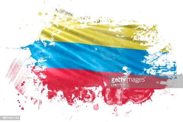 columbian ink grunge flag - colombia stock illustrations