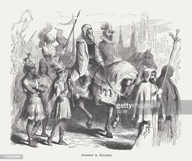 ilustraciones, imágenes clip art, dibujos animados e iconos de stock de colón llega a barcelona (1493), grabado en madera, publicado en 1876 - cristobal colon