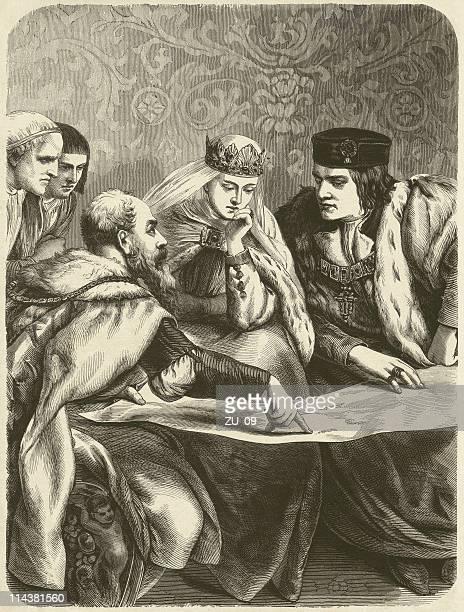 ilustraciones, imágenes clip art, dibujos animados e iconos de stock de columbus antes de los españoles queen isabella - cristobal colon