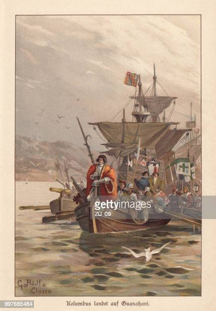columbus discovers america, lithograph, published around 1895 - european culture stock illustrations