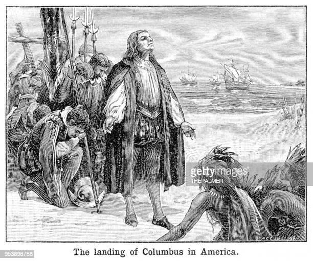 ilustraciones, imágenes clip art, dibujos animados e iconos de stock de columbus landing en 1897 del grabado de américa - cristobal colon