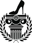 column, laurel wreath and women's shoe