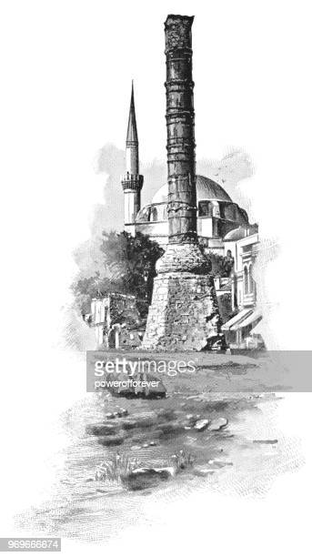 Column of Constantine at the Hippodrome of Constantinople in Istanbul, Turkey - 19th Century